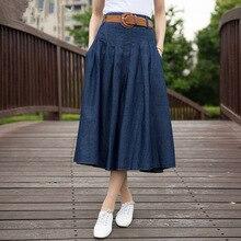 2019 femmes Slim décontracté longue jupe Slim grande taille Denim jupe taille haute plissée jupe jupes femmes S356