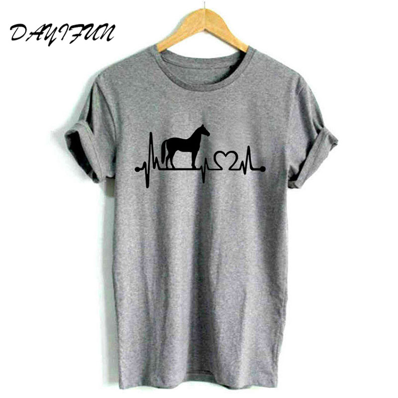 Horse heartbeat line Print Women Tshirt 2019 Fashion Cotton Casual Funny t Shirt For Lady Girl Top Tee Hipster Tumblr T3275