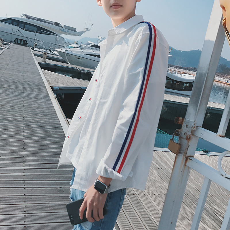 2019 Spring Striped Leisure Fashion Men Slim White Shirt Male Self cultivation Long Sleeve Camisa Masculina French Cuff Shirts in Casual Shirts from Men 39 s Clothing
