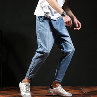 #2041 Spring Summer Denim Jeans Men Blue Loose Streetwear Biker Jeans Plus Size42 Elastic Waist Harem Jeans For Man Ankle Length