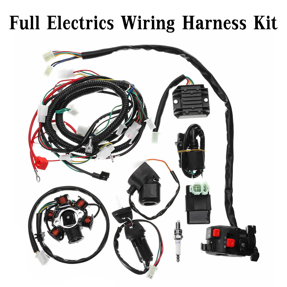 hight resolution of full electrics wiring harness loom cdi coil for gy6 150cc atv quad buggy go kart with solenoid relay rectifier solenoid relay in motorcycle starter from