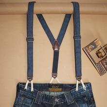 Women Fashion Denim Suspenders For Jeans Button End Tuxedo Y Back Pant Braces for Men tirantes hombre para pantalones