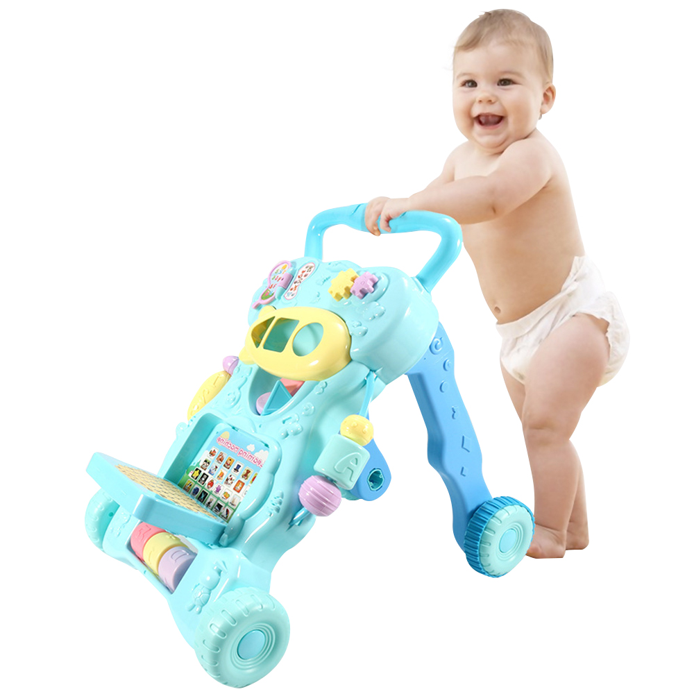 Multi functional Baby Sit to Stand Walkers Toy Kids Activity Play Center With Musical Learning Push