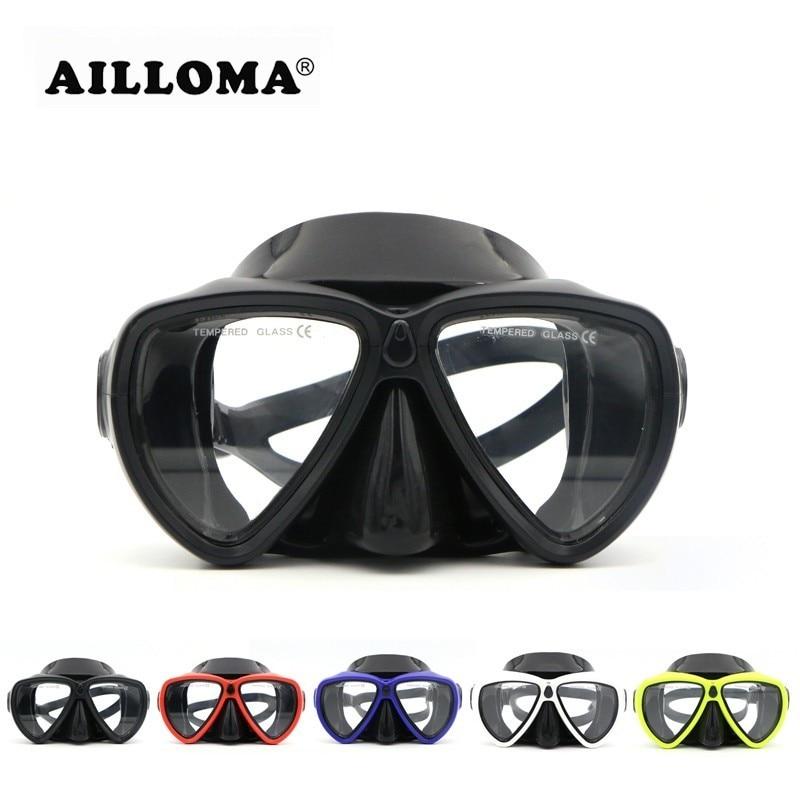 AILLOMA 5 ფერის მოზრდილთა პროფესიონალური მყვინთავის ნიღბები ანტი-ნისლის სკუბი სილიკონი Snorkeling წყლის სპორტის მოწყობილობა Dive საცურაო სათვალე