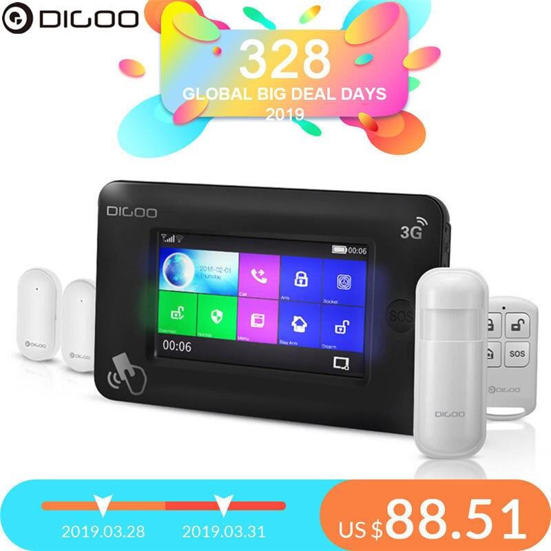 DIGOO DG-HAMA Tous Tou ch Écran 3G Version Smart Home système d'alarme de sécurité Kits support app Contrôle Amazon Alexa-NOUS emplacement pour cartes