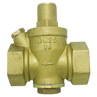 Hot Useful Pressure Reducing Valves Reliable Brass Water Pressure Regulator with Gauge Flow 3/4 Connector