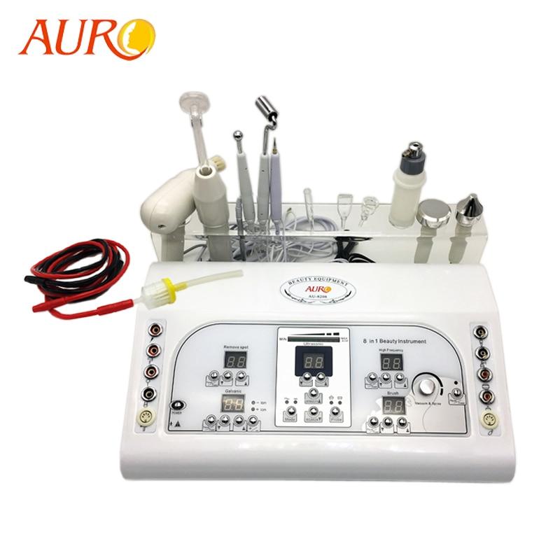 AURO 2019 New 8 in 1 Multifunctional Cautery Ultrasonic Vaccum Spray Galvanic Facial Machine Massager Facial
