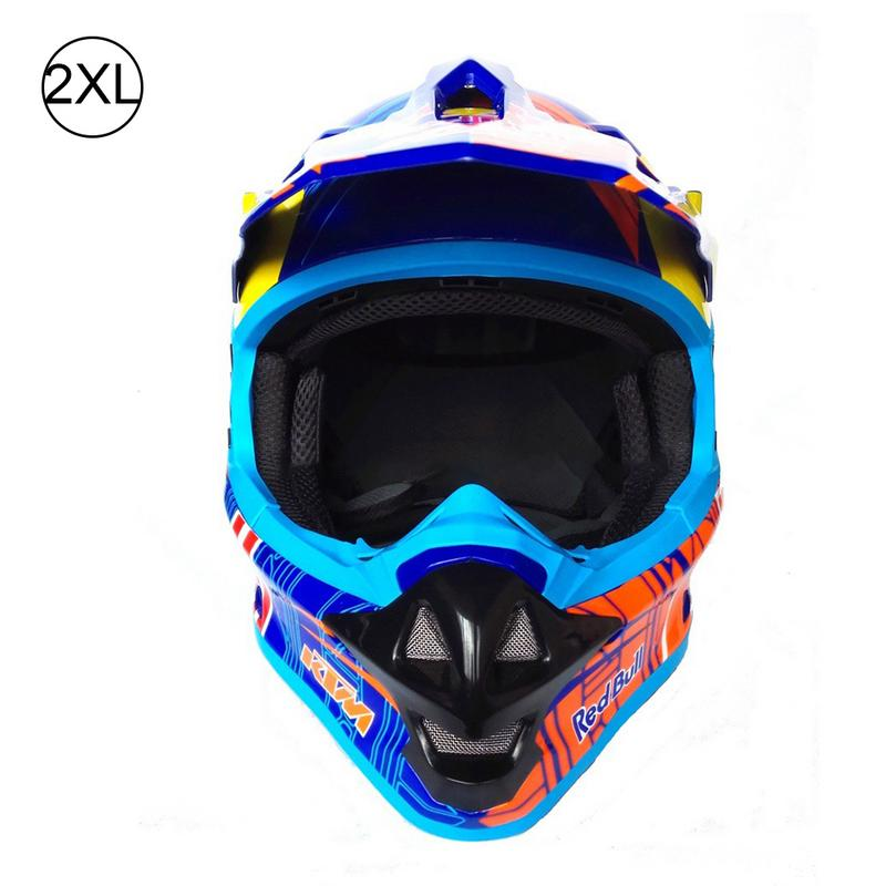 Professional Ross-border Hot Sale KTM Motorcycle Off-road Full Helmet Blue ABS Riding Helmet Number M-XXL