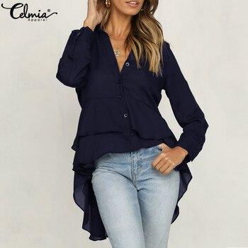 66c3a89aad24 2019 nuevas mujeres de manga larga Top cuello en V blusa camisa Irregular  Blusas largas asimétrico dobladillo túnica de gasa Casual mujer Blusas 5XL
