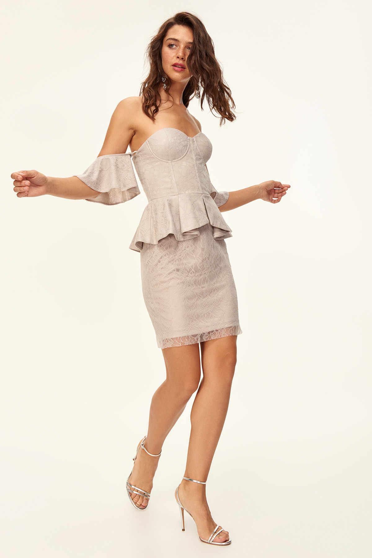 Trendyol детальный корсет платье Серый TPRSS18DE0077
