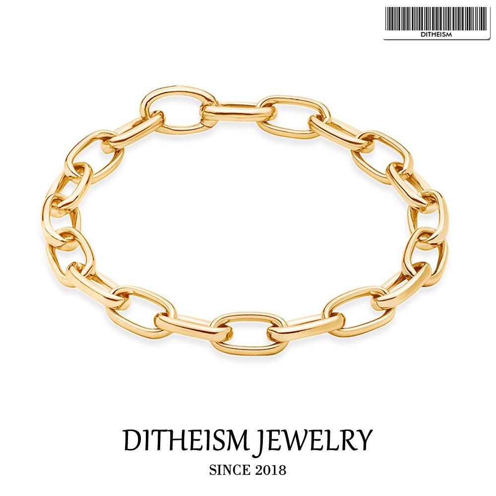 Gold Color Lick Chain Cuff...