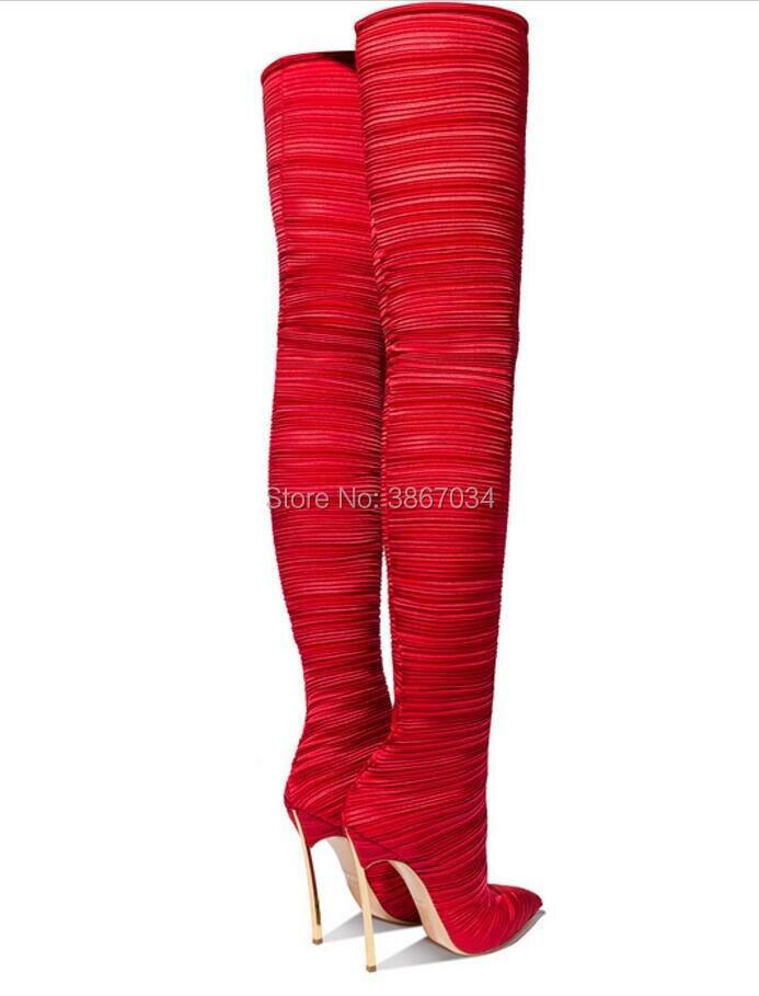 Plisada Tela Shooegle Tacones Altas Elástico Muslo Altos Marca Blade Mujeres Punta Bota Botas Rojo Moda Negro Overknee Toe RawpR