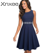 Xnxee Vintage Elegant Embroidery Floral Lace Patchwork vestidos A-Line Pinup Business Women Party Flare Swing Dress