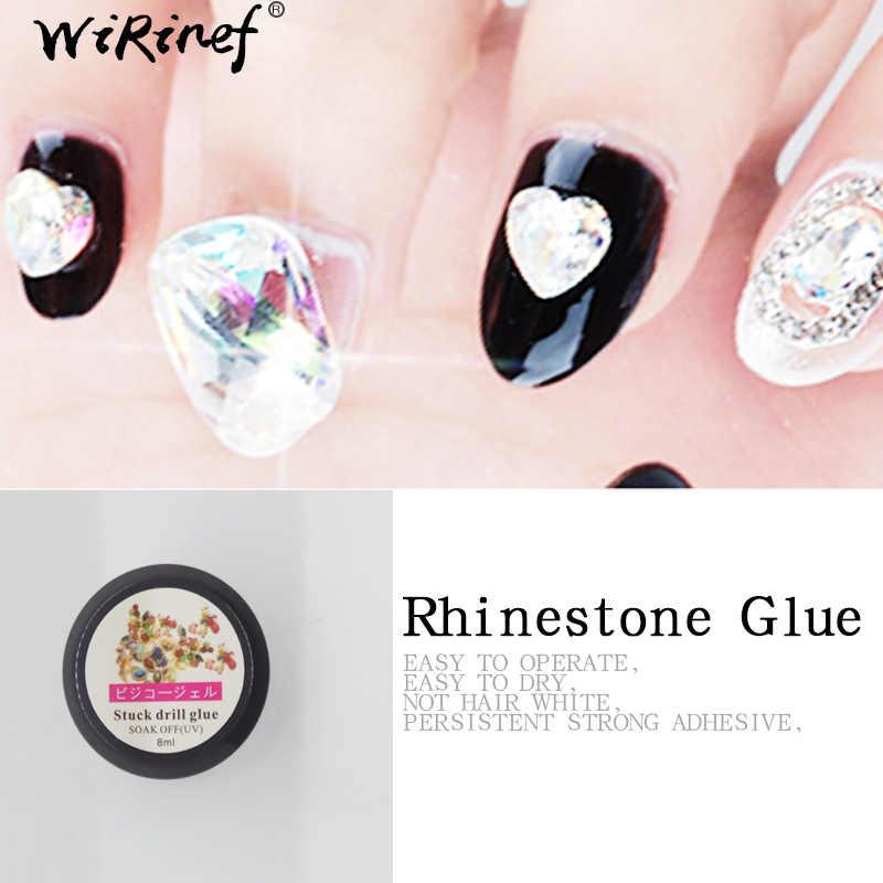 WiRinef 8 ml Forte Cola Pegajosa Rhinestone UV Gel Unha Polonês Prego Verniz Decoração Cola Super Cola