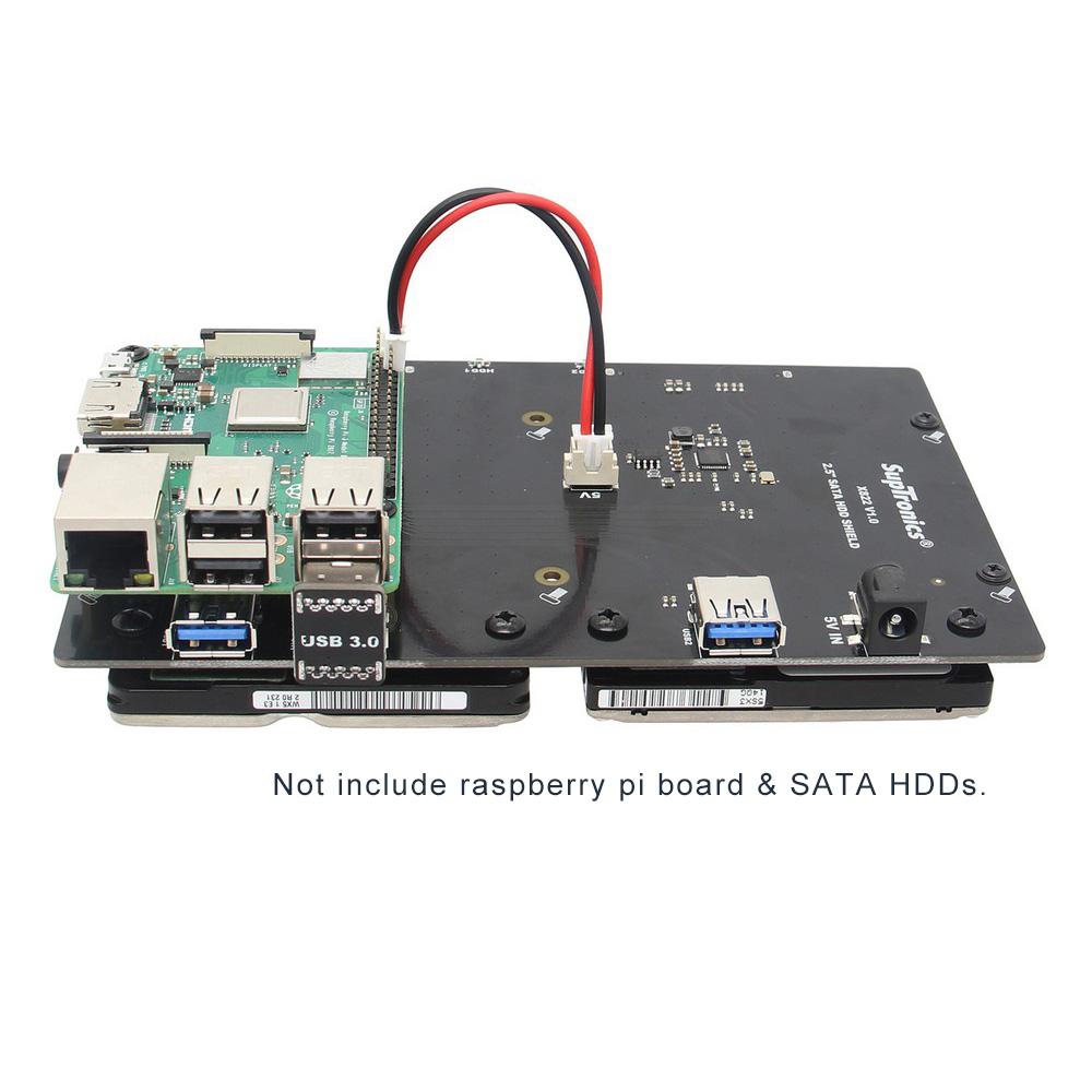 """Raspberry Pi X822 Dual 2.5"""" SATA HDD/SSD Storage Expansion Board with USB 3.0 Jumper for Raspberry Pi 3 Model B+(plus)/3B/ROCK64-in Demo Board Accessories from Computer & Office    1"""