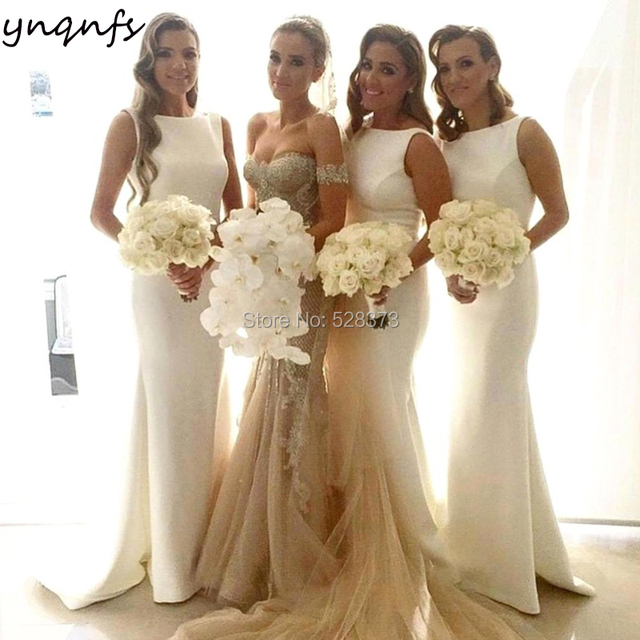 YNQNFS B32 Elegant Simple Mermaid Custom Color Party Gown White Satin  Sleeveless Bridesmaid Dresses Long 2019 3c7dd2792be8