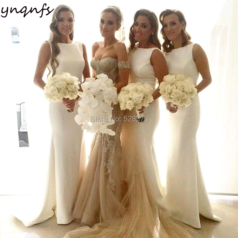 YNQNFS B32 Elegant Simple Mermaid Custom Color Party Gown White Satin Sleeveless   Bridesmaid     Dresses   Long 2019