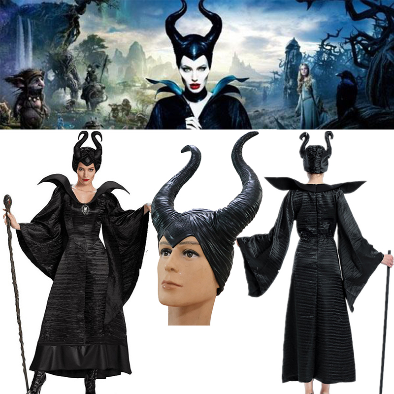 Movie Maleficent Costume Evil witch Cosplay Outfit Halloween Fantasia Party Fancy Dress latex horns headpiece hat