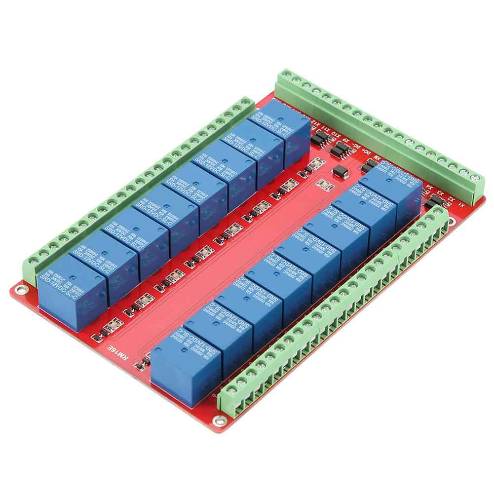 Isolated Type 16 Channel Relay Module Interface Board High/Low Level Trigger DC 5/12/24V High Quality