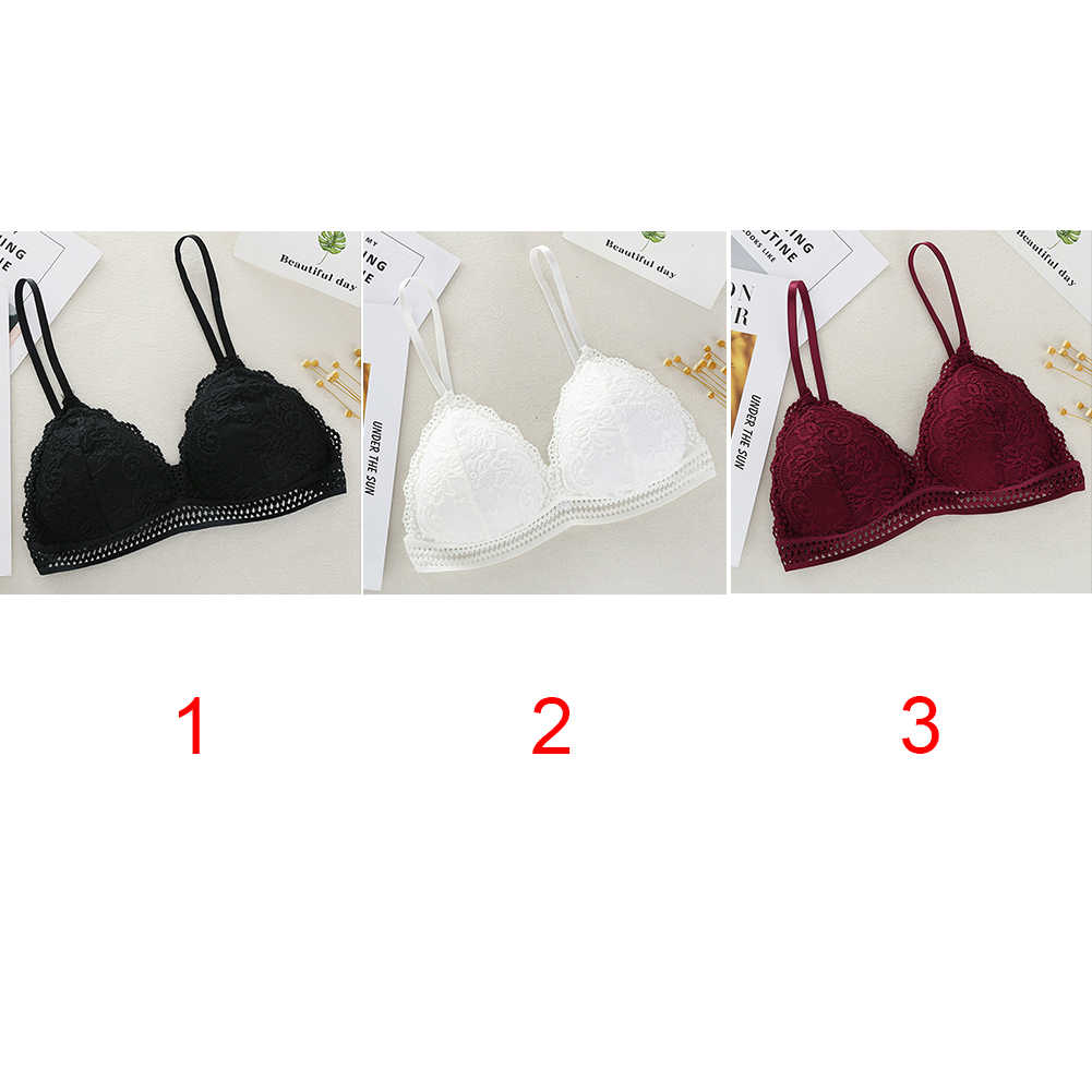 Thin French Style Bralette Lace Wireless Triangle Cup Women Lingerie Soft Bra Seamless Underwear Deep V Girls