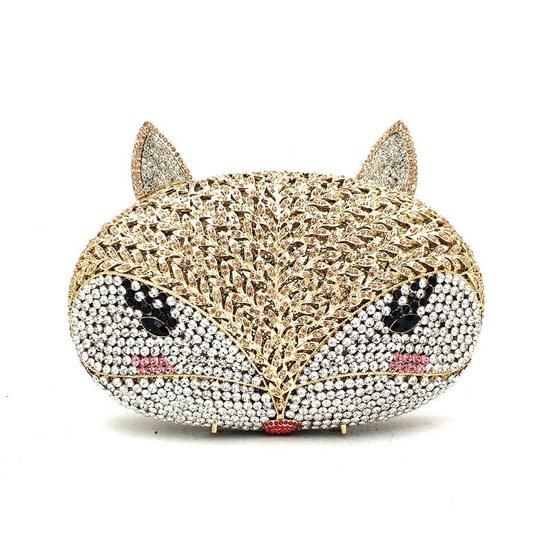 Animal bird design clutch women evening party bag diamonds fox shape crystal purses bridal wedding party