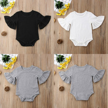 Solid Flare Short Sleeve Baby Clothes Girl&Boy Cotton Solid Soft Cotton Baby Romper Jumpsuit Summer Outfit New Born Baby Clothes(China)