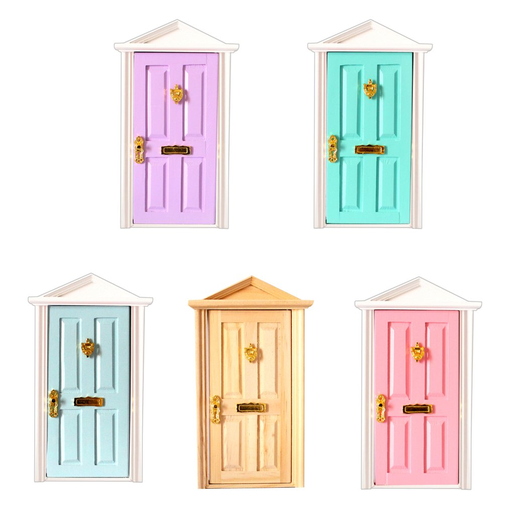 5pcs 1:12 Scale Dollhouse Furniture Wooden Door Miniature Doll House Accessories Toys Birthday Gift for Children Kids Adult