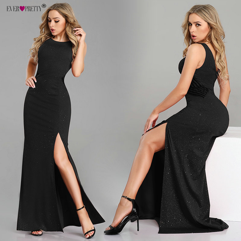 Sexy Prom Dresses Long Ever Pretty EP07780 2019 New Arrival Sleeveless Leg Slit Mermaid Black Sparkle Robe De Soiree