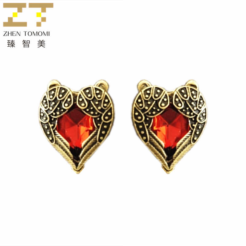 2019 Hot Fashion Vintage Retro Angel Wings Peach Heart Semi-precious Stones Red Crystal Stud Earrings For Women Jewelry Gift
