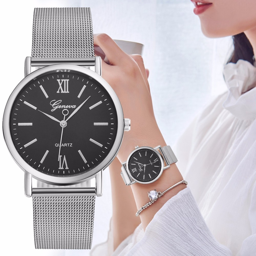 Vansvar Brand Fashion Women Silver Mesh Geneva Watch Luxury Stainless Steel Analog Quartz Watch Relogio Feminino Dropshipping