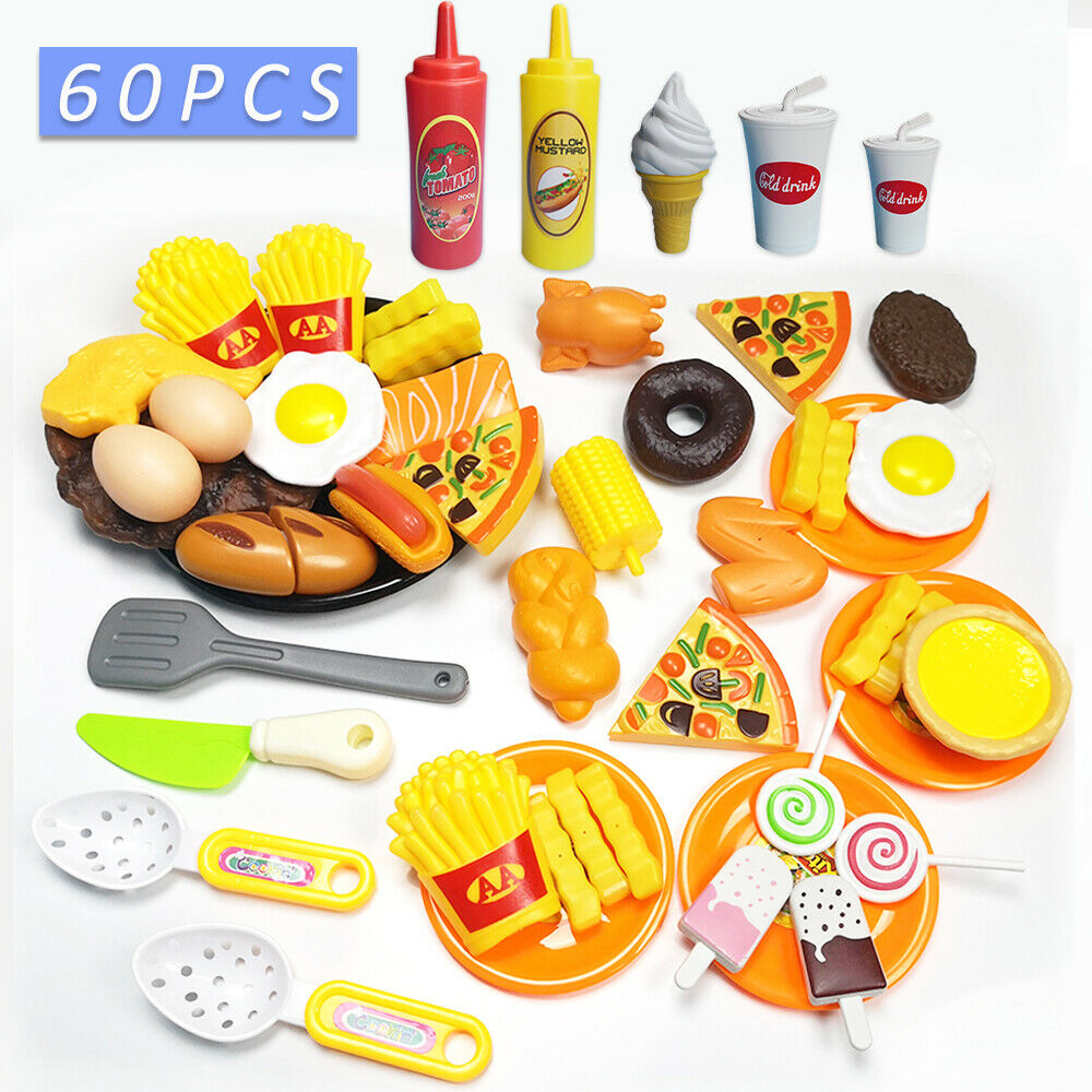 60pcs Kitchen Cutting Toys Pizza Hamburger Bread Fast Food Pretend Play Plastic Miniature Food Girls Kids Education Toy60pcs Kitchen Cutting Toys Pizza Hamburger Bread Fast Food Pretend Play Plastic Miniature Food Girls Kids Education Toy