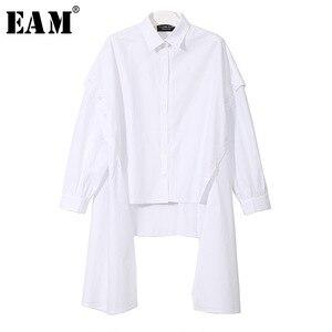 Image 1 - [EAM] 2020 New Spring Lapel Long Sleeve Black Irregular Hem Button Split Joint Loose Big Size Shirt Women Bouse Fashion JG725