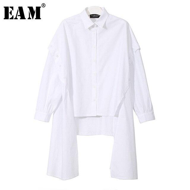 [EAM] 2020 New Spring Lapel Long Sleeve Black Irregular Hem Button Split Joint Loose Big Size Shirt Women Bouse Fashion JG725