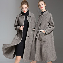 Two-sided wool and cashmere overcoat woman Autumn And Winter high-end womens long woolen trench loose windbreaker 185001