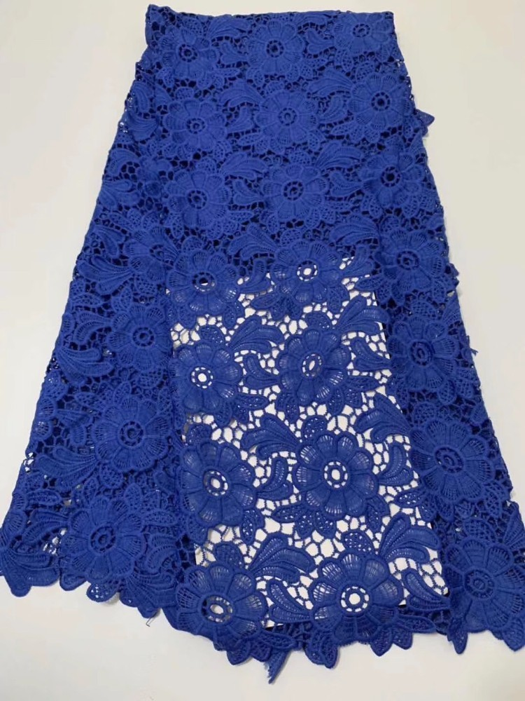 New arrival African cord lace fabric 2019 high quality chemical french guipure lace fabric royal blue