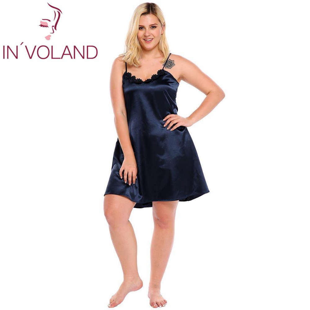 IN'VOLAND Big Size Women Sleepwear Dress Plus Size Sexy Lingerie Robe Spaghetti Strap Lace Satin Large Chemises Nightgown XL-5XL