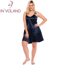 IN'VOLAND Big Size Women Sleepwear Dress Plus Size Sexy Lingerie Robe Spaghetti Strap Lace Satin Large Chemises Nightgown XL-5XL(China)