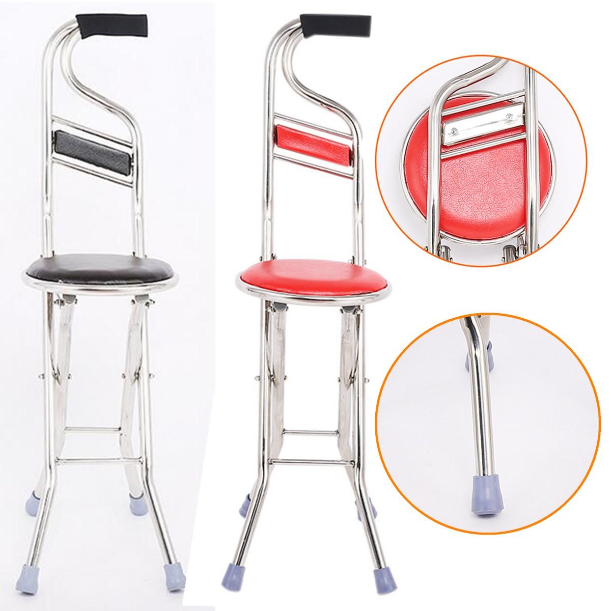 Altenpflege Walking Cane Stick 2 In Vier Beine Faltbare Für Bis Zu 130 Kg Einstellbare Cane Stuhl Hocker Sitz Tragbare Krücke