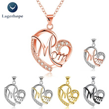 Exquisite Necklace For Women Mom Heart Shaped Crystal Alloy Metal Pendant Necklace Jewelry Birthday Mother's Day Gift Wholesale цена