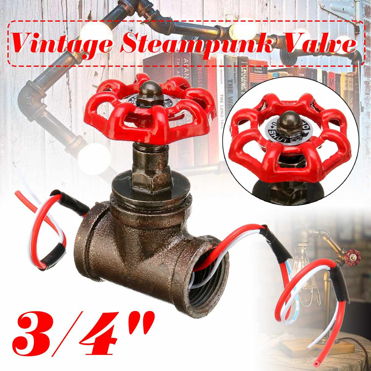 Water Pipe Fixtures Lighting Industrial Lamp Stop Valve Light Switch For  Lamp Loft Style Iron Valve Vintage Table Lamp