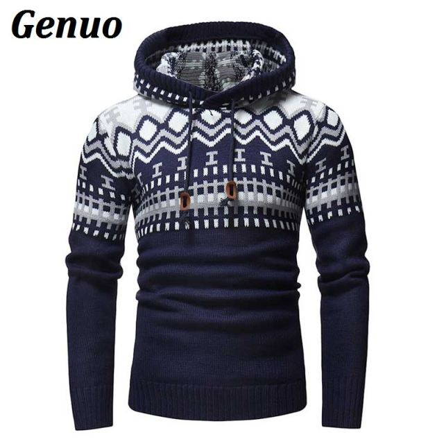 2018 Autumn Winter Sweater Pullover Men Patchwork Stitching Casual Slim Sweaters Male Warm Thick Hedging Turtleneck Sweater XXL