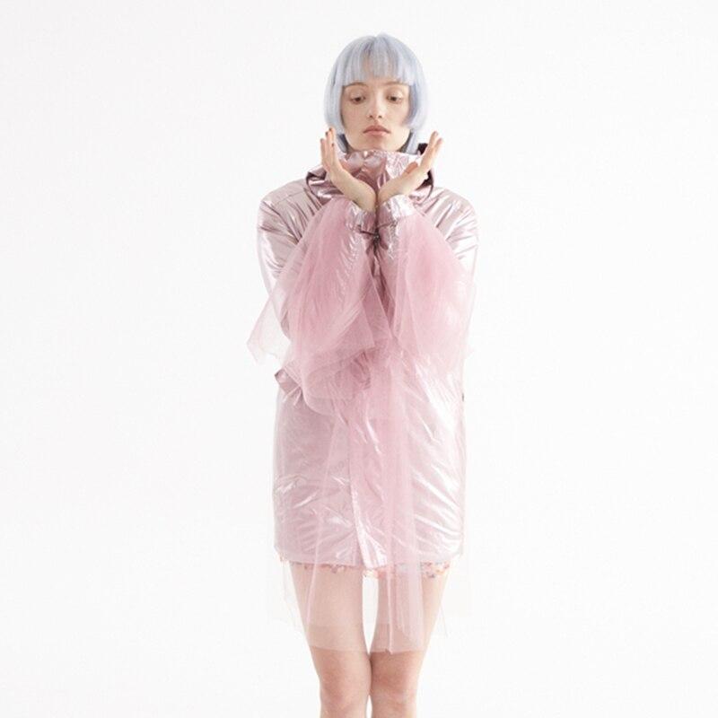 Pink 2019 Élégant Taille Chaud Color Capuche Longues Rose Spliced Coton Femme La L578 Couleur Printemps Manches À Ajustable Mesh Hiver Manteau rembourré xrqwFgRtx
