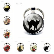 Gothic Full Moon Black Cat Keychain Cat Lovers Keyring Cat with Broom Witch Vintage Kitten Jewerly Glass Cabochon Key Chain Ring(China)