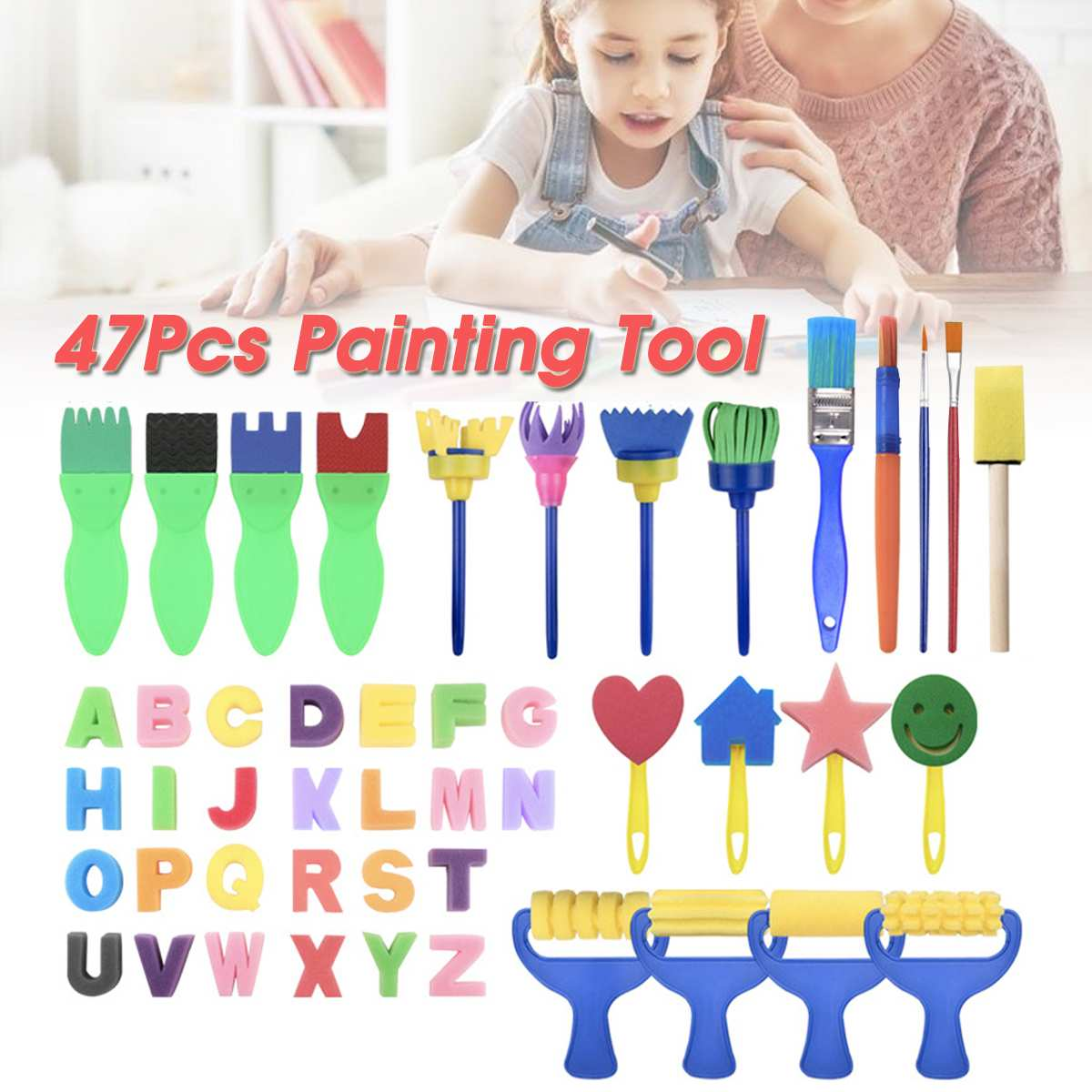 47pcs/set Diy Child Painting Tool Kit Roller Mold Sponge Drawing Writing Brush Mini Pattern Mold Toy Kids Gifts Merry Christmas