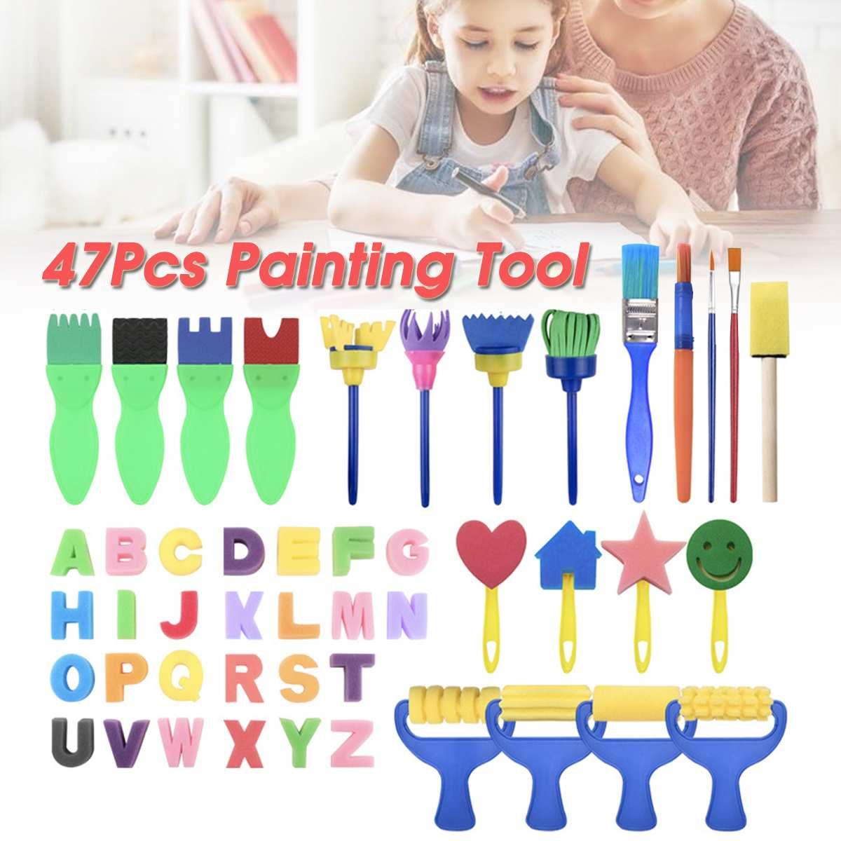 47pcs/set Diy Child Painting Tool Kit Roller Mold Sponge Drawing Writing Brush Mini Pattern Mold Toy Kids Gifts Merry Christmas
