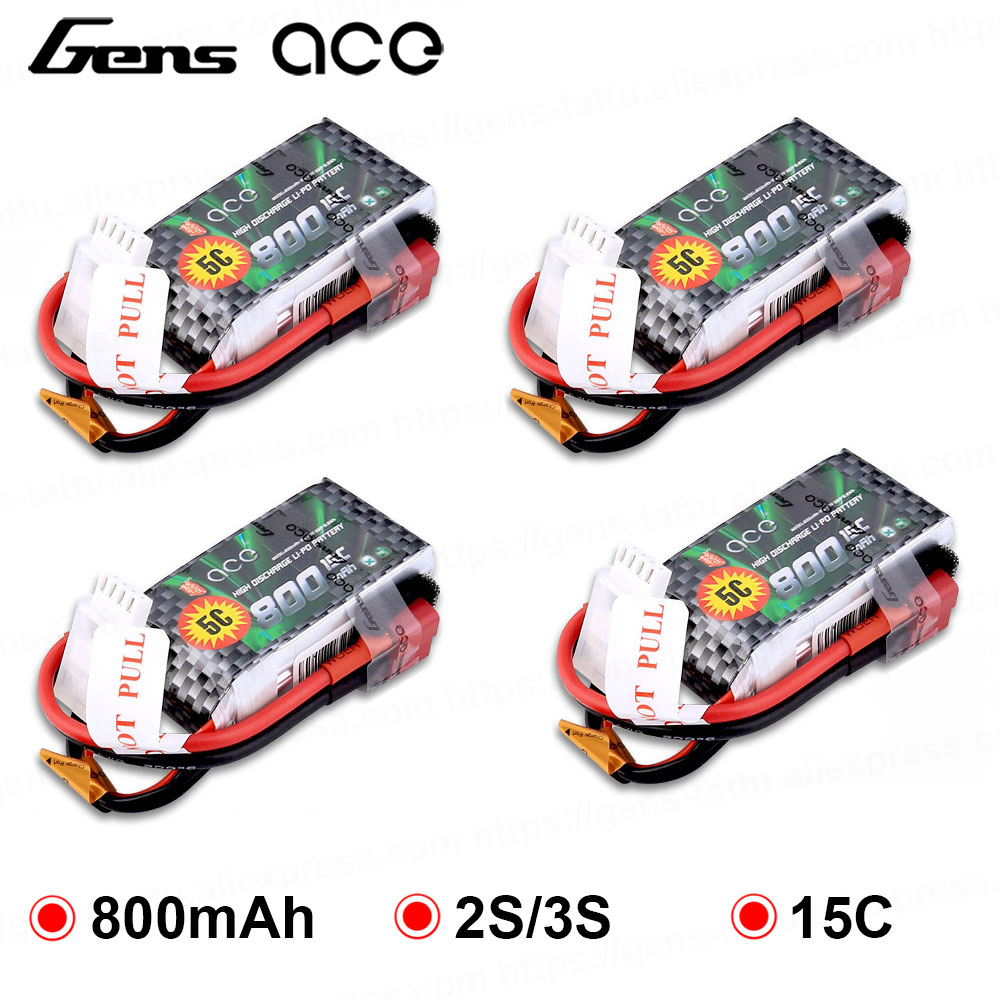 4X Gens ace Lipo <font><b>Battery</b></font> <font><b>7.4V</b></font> 11.1V <font><b>800mAh</b></font> Lipo 2S 3S RC Quadcopter Deans Plug T Connector for Small Airplane 250 Helicopter image