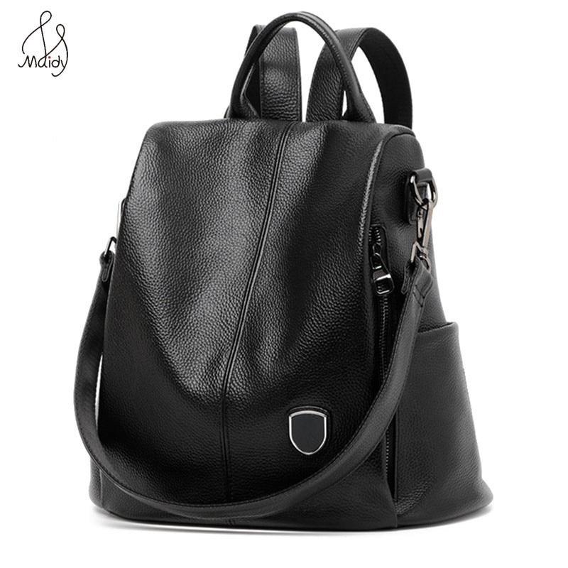 Women Genuine Cow Leather Shoulder Bag Multifunction Black Backpack Shoulder Large Backpacks Mochila School Bags Teenagers Maidy