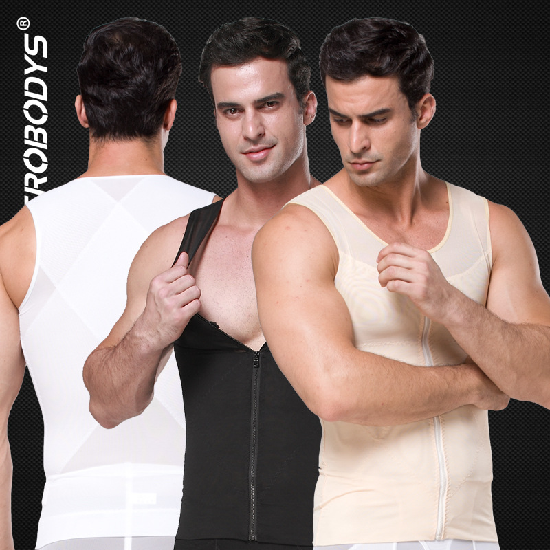 Men Sauna Vest Body Belly Shaper Slimming Zip Corset Zipper Abdomen Control Corset Big Belly Compression Vest Weight Loss 2019
