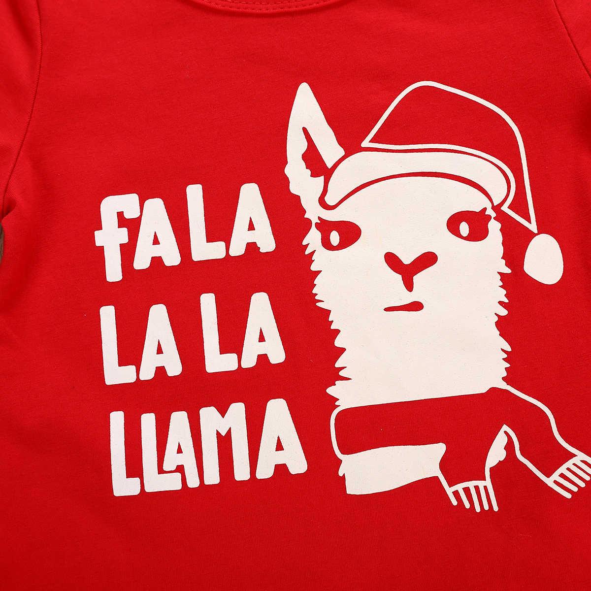 Pasgeboren Baby Boy Rood T-shirt Korte Mouw Tops Alpaca Print Lange Broek Outfits Kleding Set Kerst