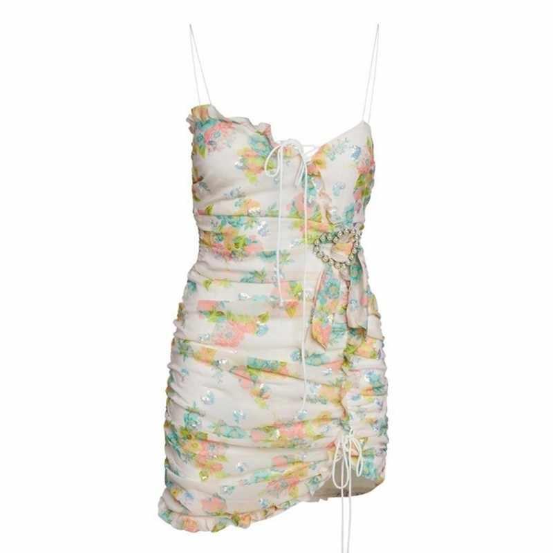 Лето сексуальное женское платье без рукавов с принтом, на бретельках, с высокой талией, облегающие Асимметричные Мини платья, женская мода 2019